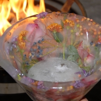Ice Bowl with flowers from Julie's garden | French Cooking Classes