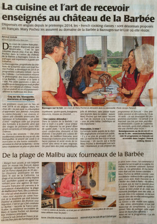Press article on LVDC's French Cookery Courses